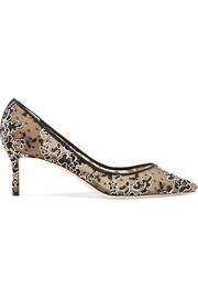Jimmy Choo Romy 60 Swiss-dot tulle and corded lace pumps