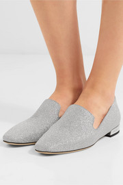 Jimmy Choo Jaida glittered leather loafers