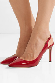 Jimmy Choo Erin 85 patent-leather slingback pumps