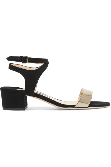 7a6908ea6 Jimmy Choo. Marine 35 suede and metallic leather sandals