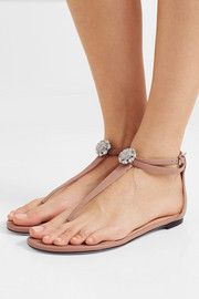 Jimmy Choo Afia crystal-embellished leather sandals