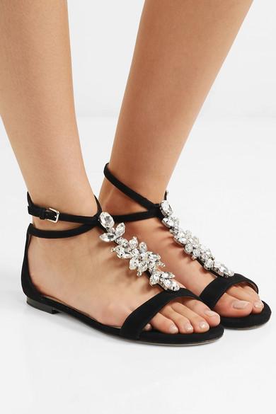 Jimmy Choo Sandals Averie crystal-embellished suede sandals