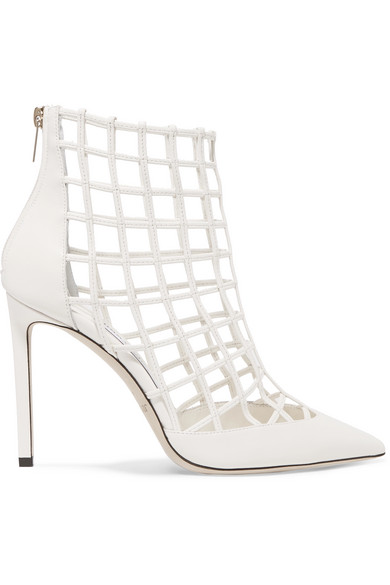 jimmy choo women s sheldon 100 caged leather high heel booties in Peach Heels jimmy choo women s sheldon 100 caged leather high heel booties in white