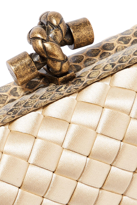 Bottega Veneta The Knot watersnake-trimmed intrecciato satin clutch