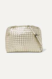 Nodini small metallic intrecciato leather shoulder bag