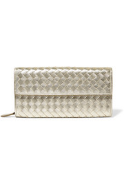 Metallic intrecciato leather continental wallet