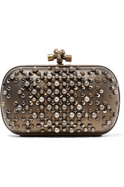 The Knot embellished metallic leather clutch
