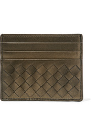 Metallic intrecciato leather cardholder