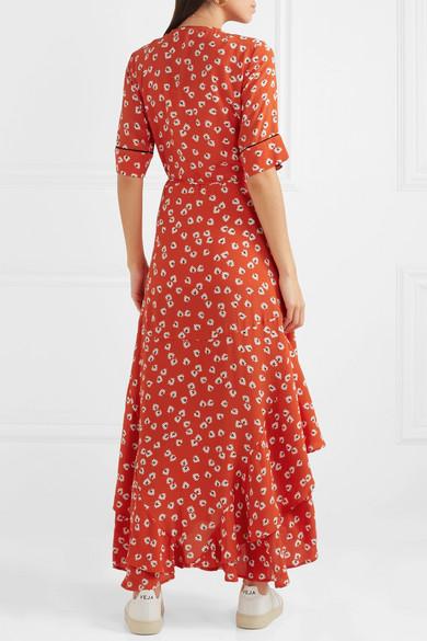 7a1935ad GANNI | Floral-print crepe de chine wrap maxi dress | NET-A-PORTER.COM