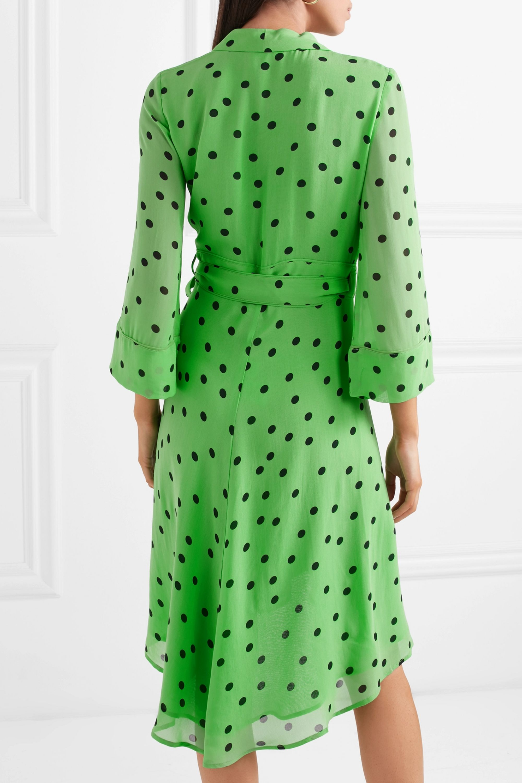 GANNI Polka-dot georgette wrap dress