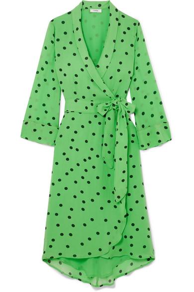 efa2b0af9342 Ganni Dainty Polka Dot Crepe Wrap Dress In Green | ModeSens