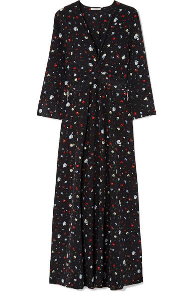 72d9ceee GANNI | Twist-front floral-print silk crepe de chine maxi dress ...