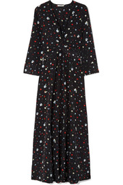 Nolana twist-front floral-print silk crepe de chine maxi dress