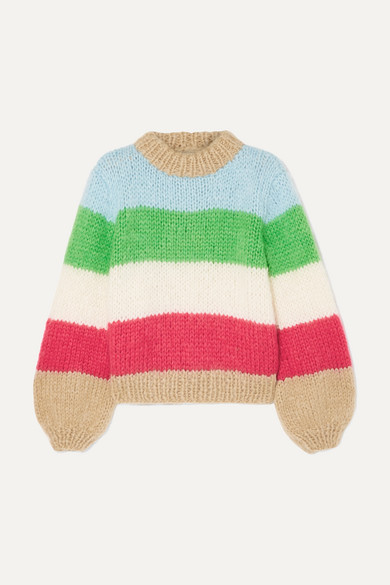 Julliard Striped Mohair And Wool-Blend Sweater in Sky Blue