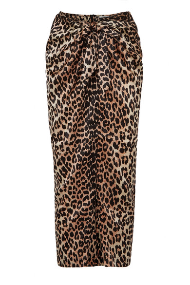 be20c1ef897580 Ganni Black And Brown Calla Leopard-Print Stretch-Silk Midi Skirt In  Leopard Print
