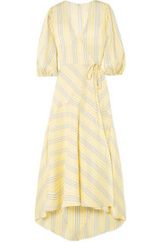 GANNI Striped silk midi dress