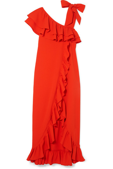 Clark Ruffled Stretch-Crepe Maxi Dress in Tomato Red