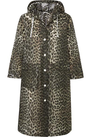 GANNI - Leopard-print Matte-pu Coat - Leopard print