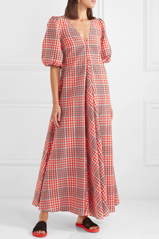ganni seersucker check dress red