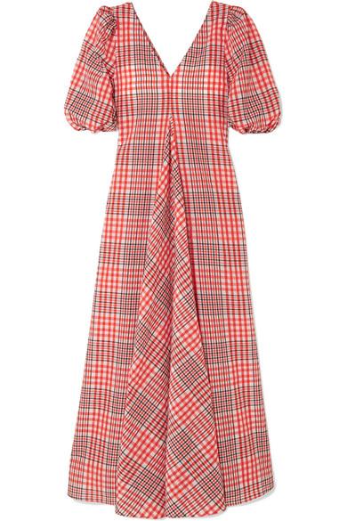 2bfa76f3 GANNI | Checked cotton-blend seersucker maxi dress | NET-A-PORTER.COM
