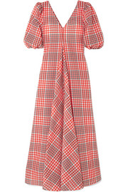 GANNI Checked cotton-blend seersucker maxi dress