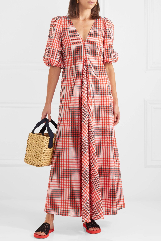 Red Checked Cotton Blend Seersucker Maxi Dress Ganni Net A Porter