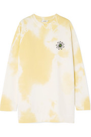 GANNI Appliquéd tie-dyed cotton-jersey sweatshirt