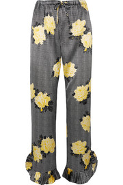 GANNI Ruffle-trimmed printed silk-blend straight-leg pants