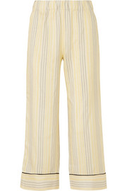 GANNI Bergamot striped silk straight-leg pants