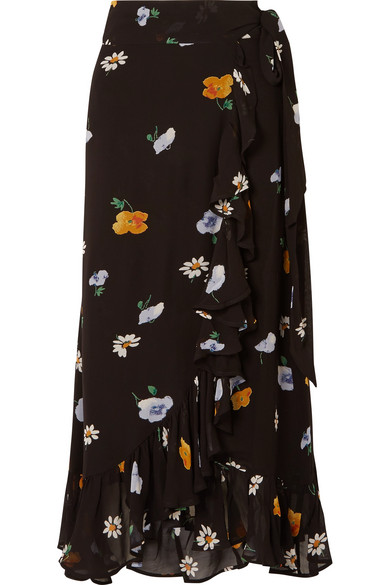 Dainty Georgette Floral-Print Wrap Skirt, Female