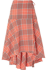 GANNI Charron checked cotton-blend seersucker wrap skirt