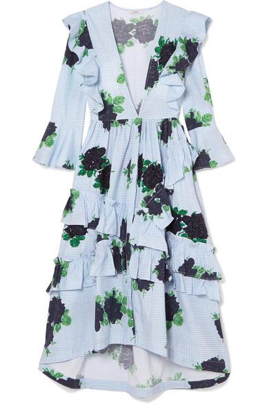 Ruffled Embellished Gingham Cotton Midi Dress in Sky Blue