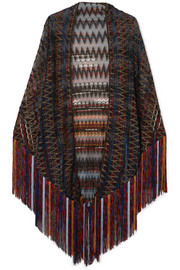 Fringed metallic crochet-knit wrap