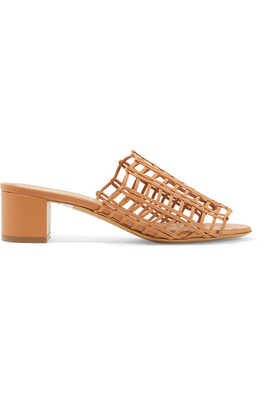 Grid Leather Sandals in Camel
