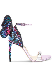 Sophia Webster Chiara embroidered satin and metallic leather sandals