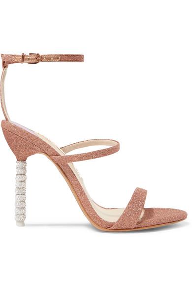 81cc358a506 Sophia Webster. Rosalind crystal-embellished glittered canvas sandals