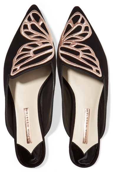 Sophia Webster aus | Bibi Butterfly Slippers aus Webster Veloursleder mit Stickerei d16567