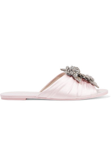 Lilico Crystal-Embellished Ruched Satin Slides, Pastel Pink