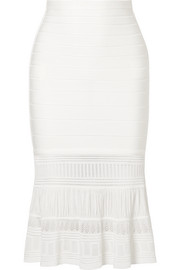 Textured knit-paneled bandage skirt