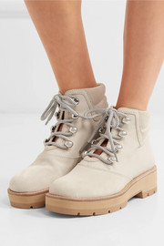 Dylan suede and coated cotton-twill ankle boots