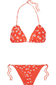 GANNI Columbine ruffled printed triangle bikini