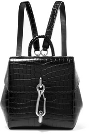 Hook mini croc-effect leather backpack