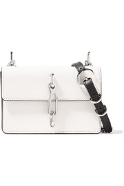 Hook two-tone smooth and textured-leather shoulder bag