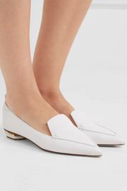 Beya textured-leather point-toe flats