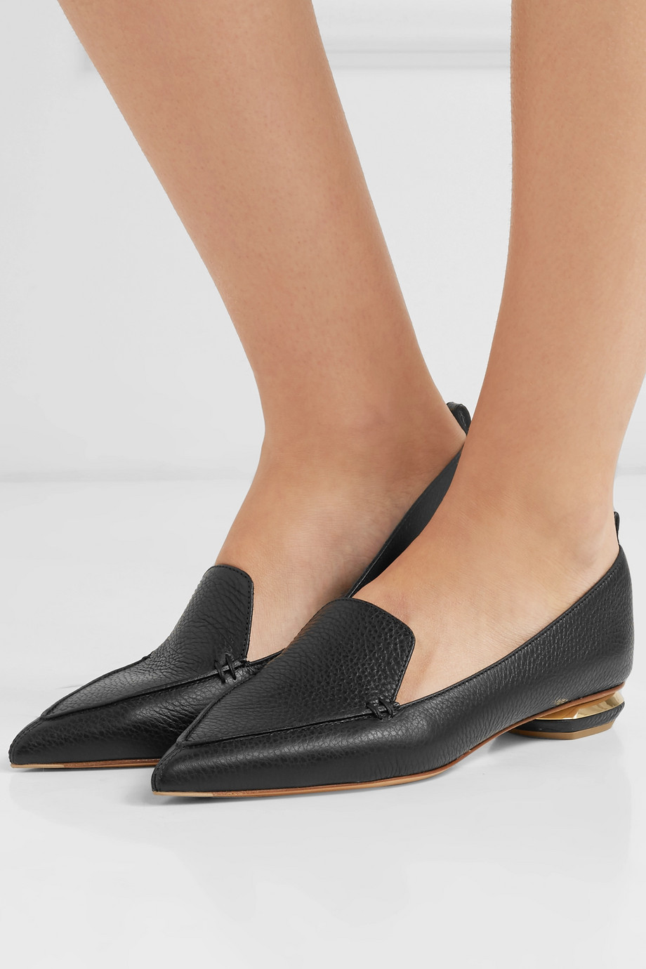 Nicholas Kirkwood Beya textured-leather point-toe flats