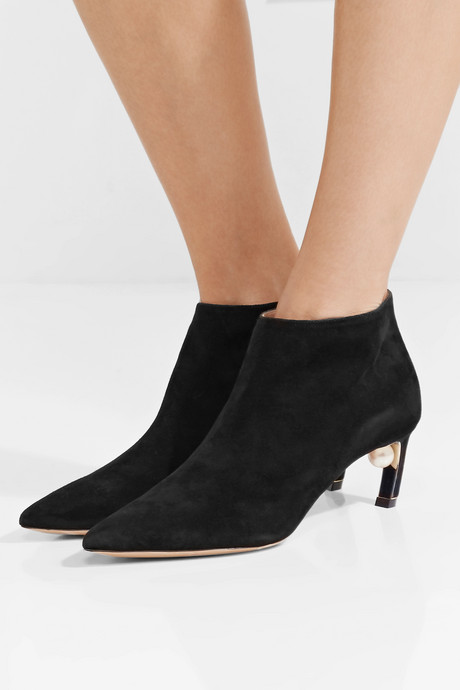 Mira faux pearl-embellished suede ankle boots