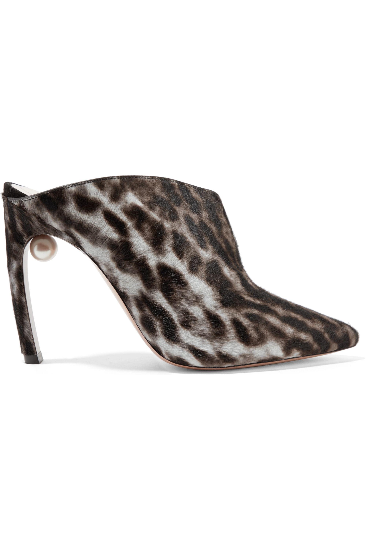 Nicholas Kirkwood Mira leopard-print calf hair mules