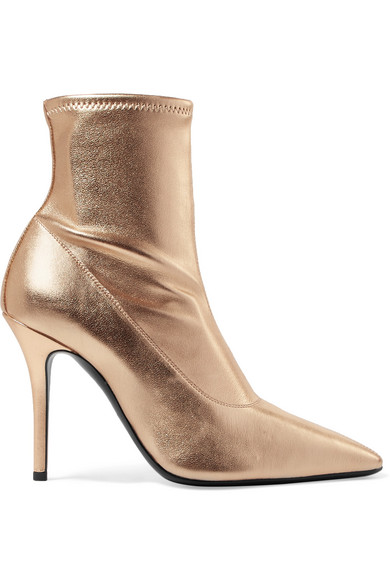 Notte Metallic Leather Sock Boots in Gold
