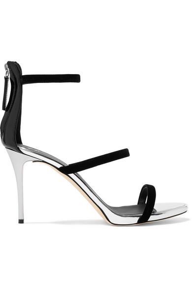 Alien Metallic Leather And Velvet Sandals by Giuseppe Zanotti