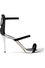 Giuseppe Zanotti Alien metallic leather and velvet sandals